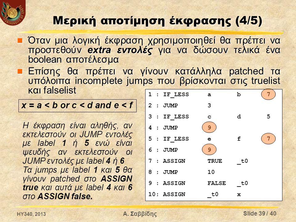 Μερική αποτίμηση έκφρασης (4/5) Όταν μια λογική έκφραση χρησιμοποιηθεί θα πρέπει να προστεθούν extra εντολές για να δώσουν τελικά ένα boolean αποτέλεσ
