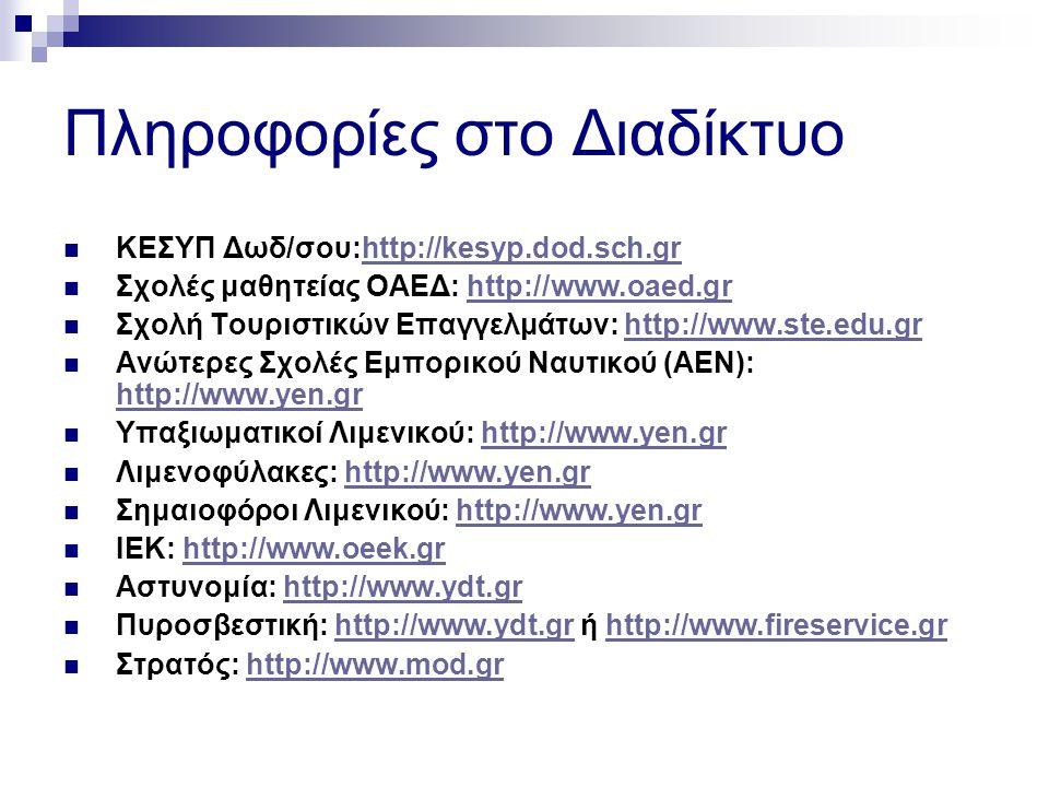 Πληροφορίες στο Διαδίκτυο ΚΕΣΥΠ Δωδ/σου:http://kesyp.dod.sch.grhttp://kesyp.dod.sch.gr Σχολές μαθητείας ΟΑΕΔ: http://www.oaed.grhttp://www.oaed.gr Σχολή Τουριστικών Επαγγελμάτων: http://www.ste.edu.grhttp://www.ste.edu.gr Ανώτερες Σχολές Εμπορικού Ναυτικού (ΑΕΝ): http://www.yen.gr http://www.yen.gr Υπαξιωματικοί Λιμενικού: http://www.yen.grhttp://www.yen.gr Λιμενοφύλακες: http://www.yen.grhttp://www.yen.gr Σημαιοφόροι Λιμενικού: http://www.yen.grhttp://www.yen.gr ΙΕΚ: http://www.oeek.grhttp://www.oeek.gr Αστυνομία: http://www.ydt.grhttp://www.ydt.gr Πυροσβεστική: http://www.ydt.gr ή http://www.fireservice.grhttp://www.ydt.grhttp://www.fireservice.gr Στρατός: http://www.mod.grhttp://www.mod.gr