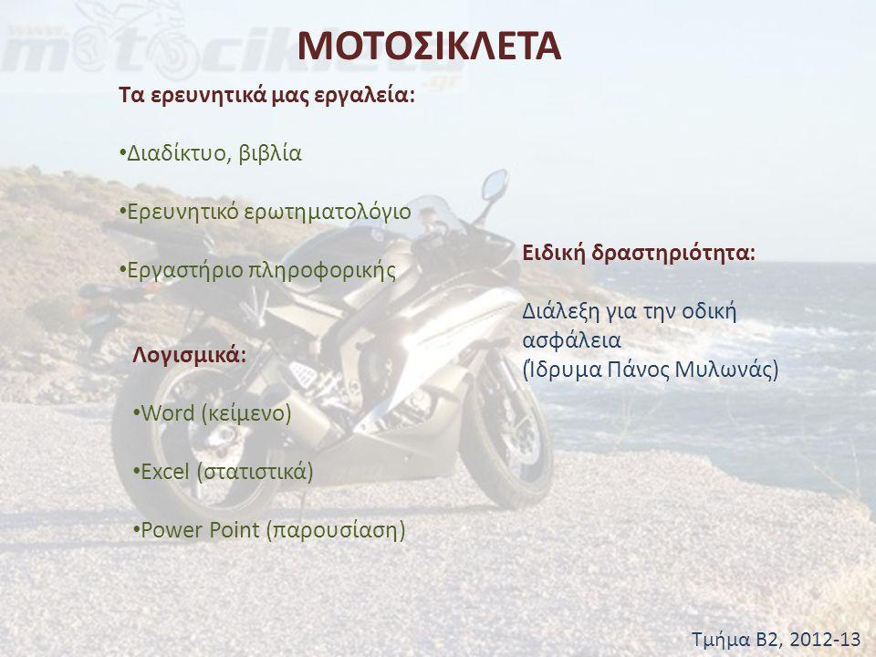 ΜΟΤΟΣΙΚΛΕΤΑ Τμήμα Β2, 2012-13 Συναισθήματα αναβατών πριν από αγώνα (ή πριν από την οδήγηση δικύκλου.
