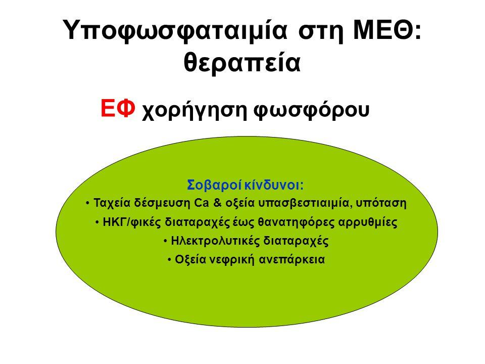 Υποφωσφαταιμία στη ΜΕΘ: θεραπεία ΕΦ χορήγηση φωσφόρου Σοβαροί κίνδυνοι: Ταχεία δέσμευση Ca & οξεία υπασβεστιαιμία, υπόταση ΗΚΓ/φικές διαταραχές έως θα