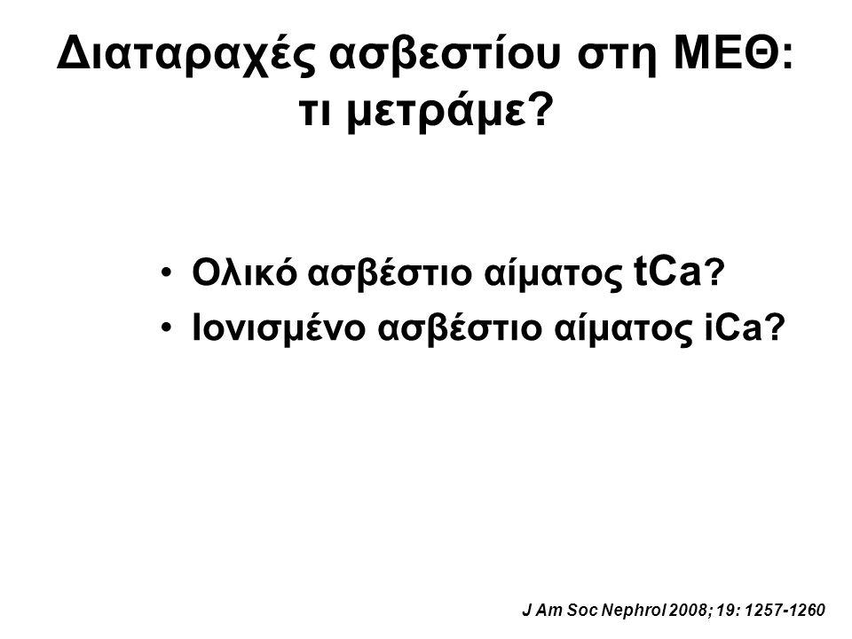Διαταραχές ασβεστίου στη ΜΕΘ: τι μετράμε? Ολικό ασβέστιο αίματος tCa ? Ιονισμένο ασβέστιο αίματος iCa? J Am Soc Nephrol 2008; 19: 1257-1260