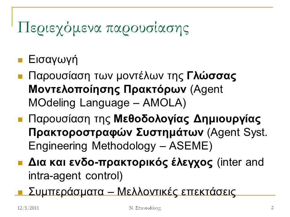 Περιεχόμενα παρουσίασης Εισαγωγή Παρουσίαση των μοντέλων της Γλώσσας Μοντελοποίησης Πρακτόρων (Agent MOdeling Language – AMOLA) Παρουσίαση της Μεθοδολ