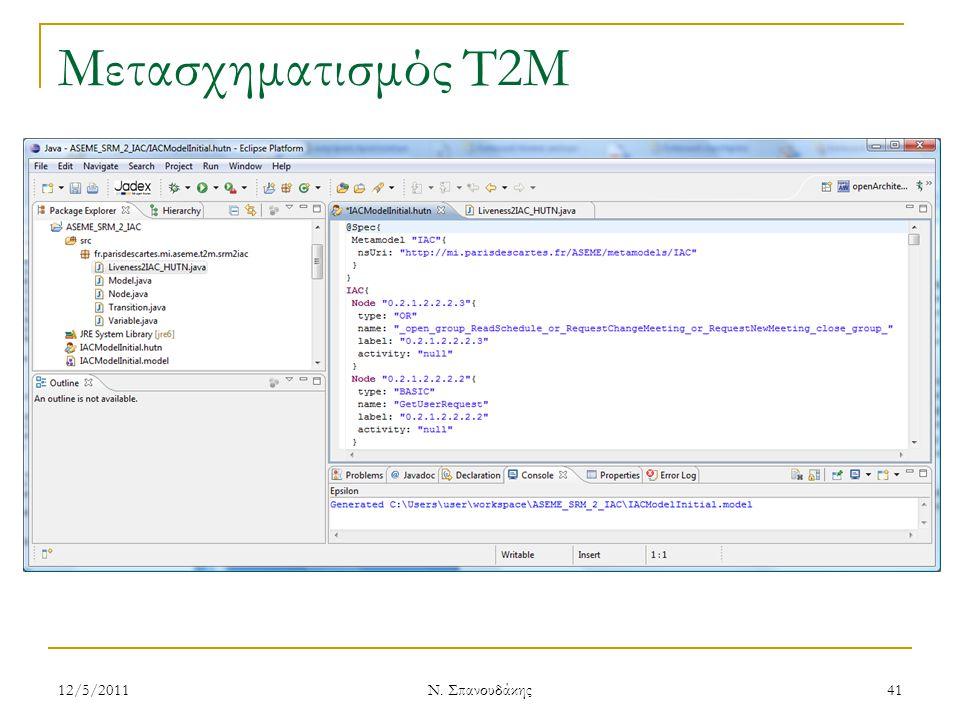 Μετασχηματισμός T2M 12/5/201141 Ν. Σπανουδάκης