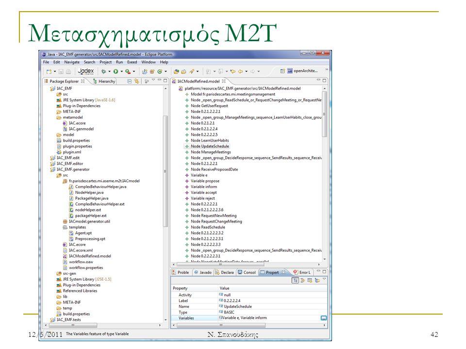 Μετασχηματισμός M2T 12/5/201142 Ν. Σπανουδάκης