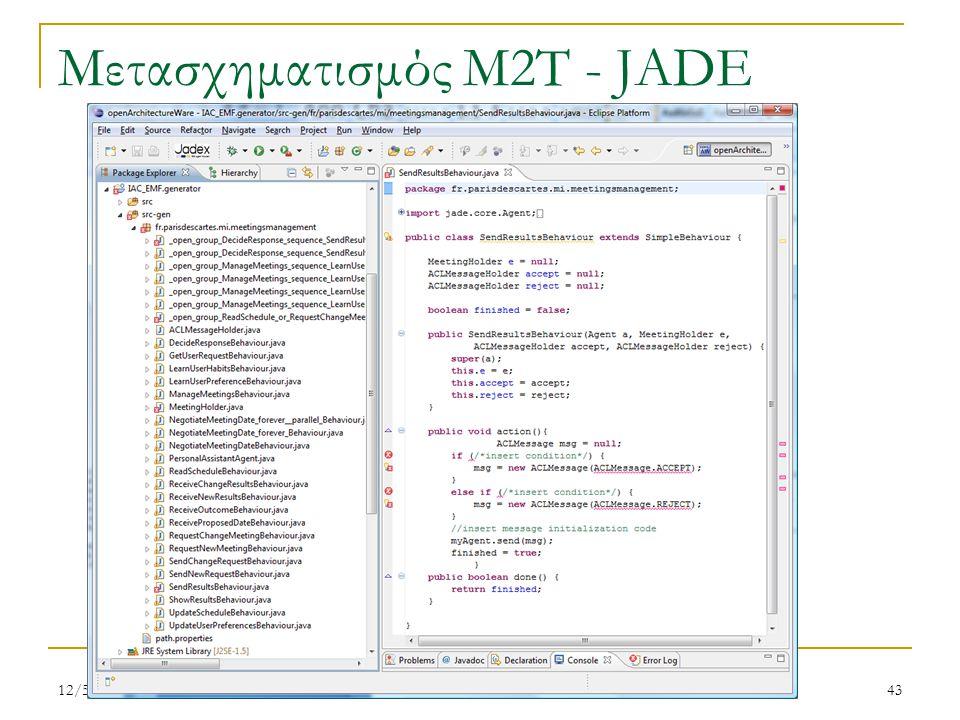 Μετασχηματισμός M2T - JADE 12/5/201143 Ν. Σπανουδάκης
