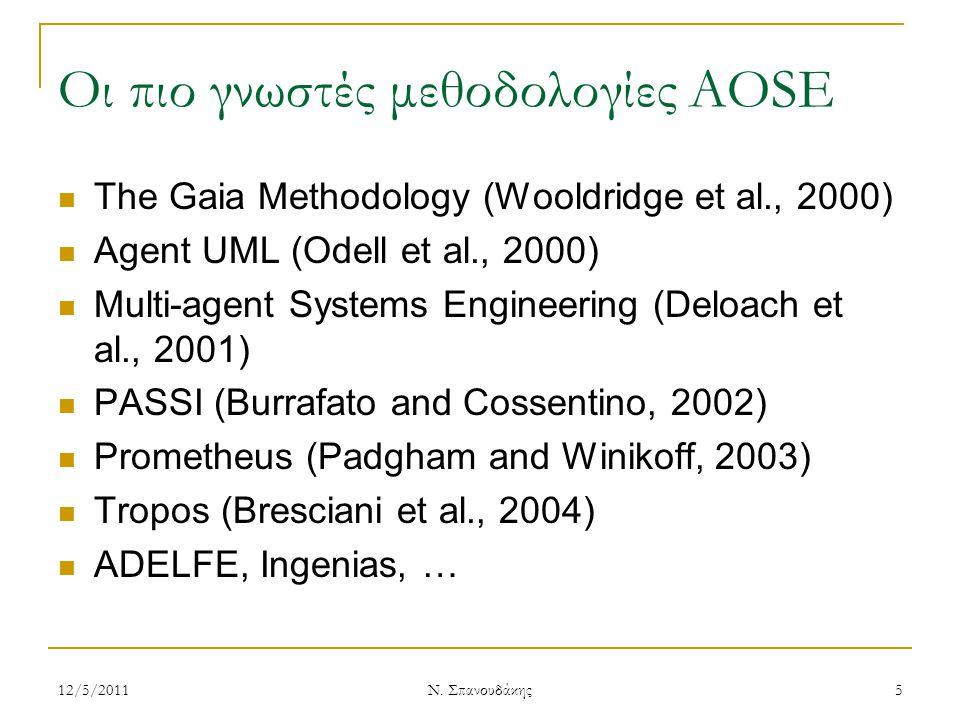 Οι πιο γνωστές μεθοδολογίες AOSE The Gaia Methodology (Wooldridge et al., 2000) Agent UML (Odell et al., 2000) Multi-agent Systems Engineering (Deloac