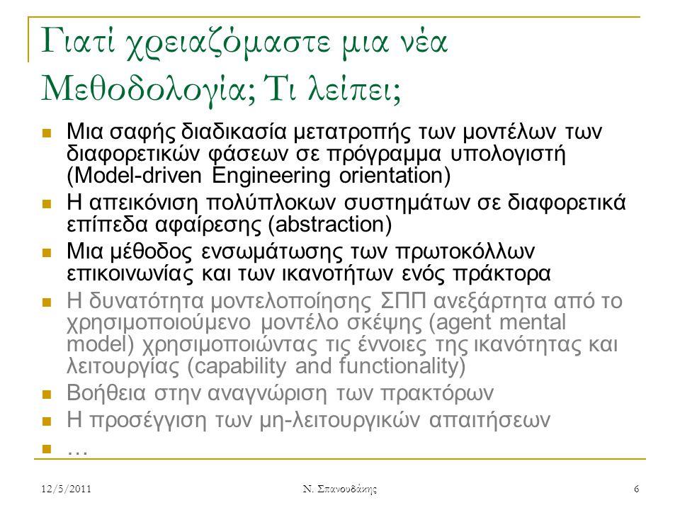 Μεθοδολογία ASEME Ορίζεται σύμφωνα με το Μεταμοντέλο Περιγραφής Διαδικασιών Ανάπτυξης Λογισμικού SPEM (Software Process Engineering Metamodel) της OMG Συμβολισμοί: 12/5/2011 Ν.