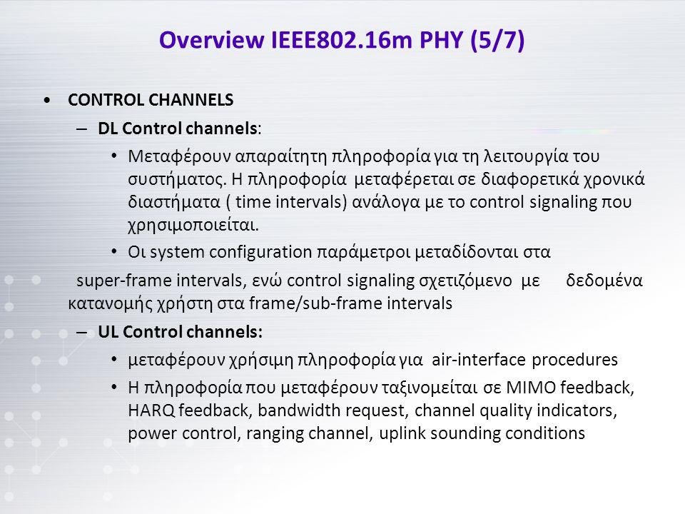 Overview IEEE802.16m PHY (5/7) CONTROL CHANNELS – DL Control channels: Μεταφέρουν απαραίτητη πληροφορία για τη λειτουργία του συστήματος.