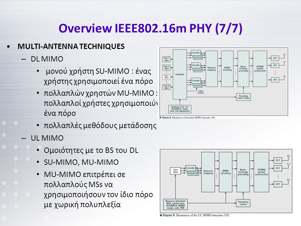 Overview IEEE802.16m PHY (7/7) MULTI-ANTENNA TECHNIQUES – DL MIMO μονού χρήστη SU-MIMO : ένας χρήστης χρησιμοποιεί ένα πόρο πολλαπλών χρηστών MU-MIMO