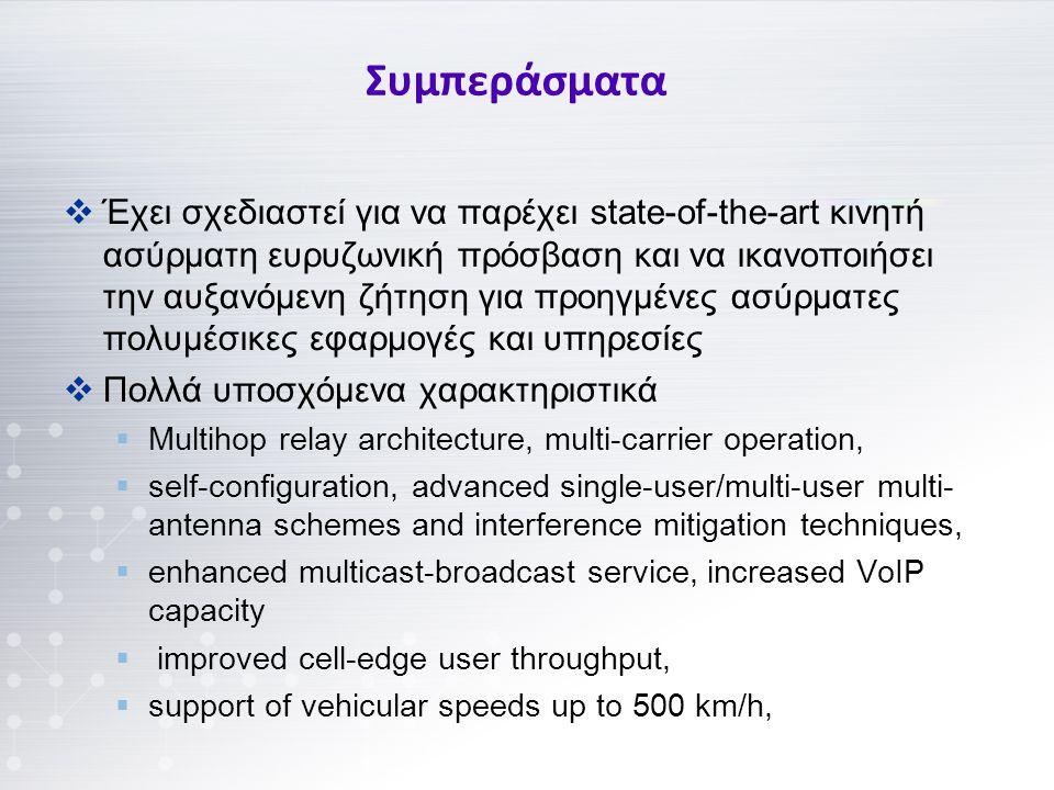  Έχει σχεδιαστεί για να παρέχει state-of-the-art κινητή ασύρματη ευρυζωνική πρόσβαση και να ικανοποιήσει την αυξανόμενη ζήτηση για προηγμένες ασύρματες πολυμέσικες εφαρμογές και υπηρεσίες  Πολλά υποσχόμενα χαρακτηριστικά  Multihop relay architecture, multi-carrier operation,  self-configuration, advanced single-user/multi-user multi- antenna schemes and interference mitigation techniques,  enhanced multicast-broadcast service, increased VoIP capacity  improved cell-edge user throughput,  support of vehicular speeds up to 500 km/h, Συμπεράσματα