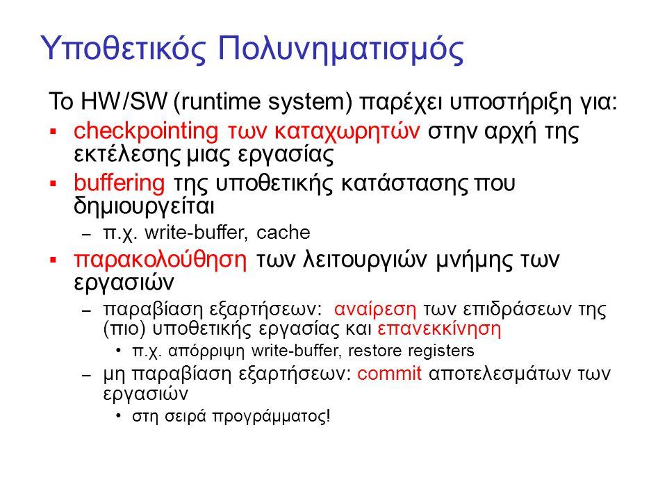 Υποθετικός Πολυνηματισμός Το HW/SW (runtime system) παρέχει υποστήριξη για:  checkpointing των καταχωρητών στην αρχή της εκτέλεσης μιας εργασίας  bu