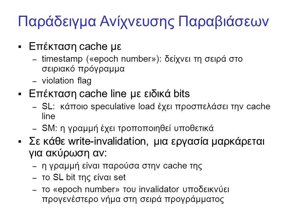Παράδειγμα Ανίχνευσης Παραβιάσεων  Επέκταση cache με – timestamp («epoch number»): δείχνει τη σειρά στο σειριακό πρόγραμμα – violation flag  Επέκτασ