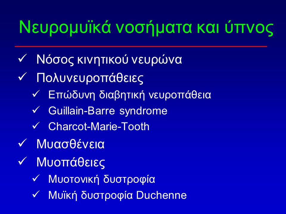 Νευρομυϊκά νοσήματα και ύπνος Νόσος κινητικού νευρώνα Πολυνευροπάθειες Επώδυνη διαβητική νευροπάθεια Guillain-Barre syndrome Charcot-Marie-Tooth Μυασθ