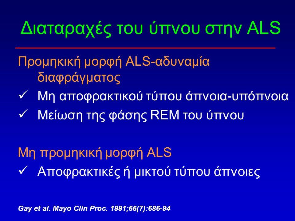 Διαταραχές του ύπνου στην ALS Προμηκική μορφή ALS-αδυναμία διαφράγματος Μη αποφρακτικού τύπου άπνοια-υπόπνοια Μείωση της φάσης REM του ύπνου Μη προμηκ