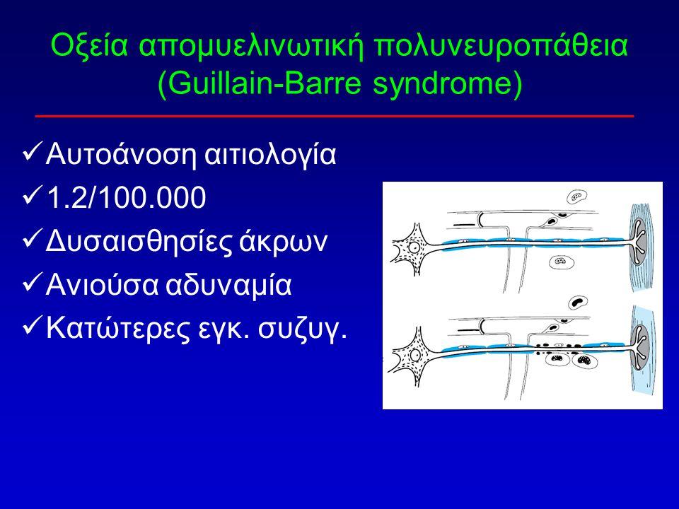 Οξεία απομυελινωτική πολυνευροπάθεια (Guillain-Barre syndrome) Αυτοάνοση αιτιολογία 1.2/100.000 Δυσαισθησίες άκρων Ανιούσα αδυναμία Κατώτερες εγκ. συζ