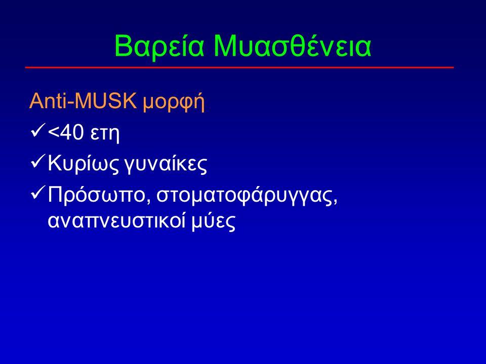 Βαρεία Μυασθένεια Anti-MUSK μορφή <40 ετη Κυρίως γυναίκες Πρόσωπο, στοματοφάρυγγας, αναπνευστικοί μύες