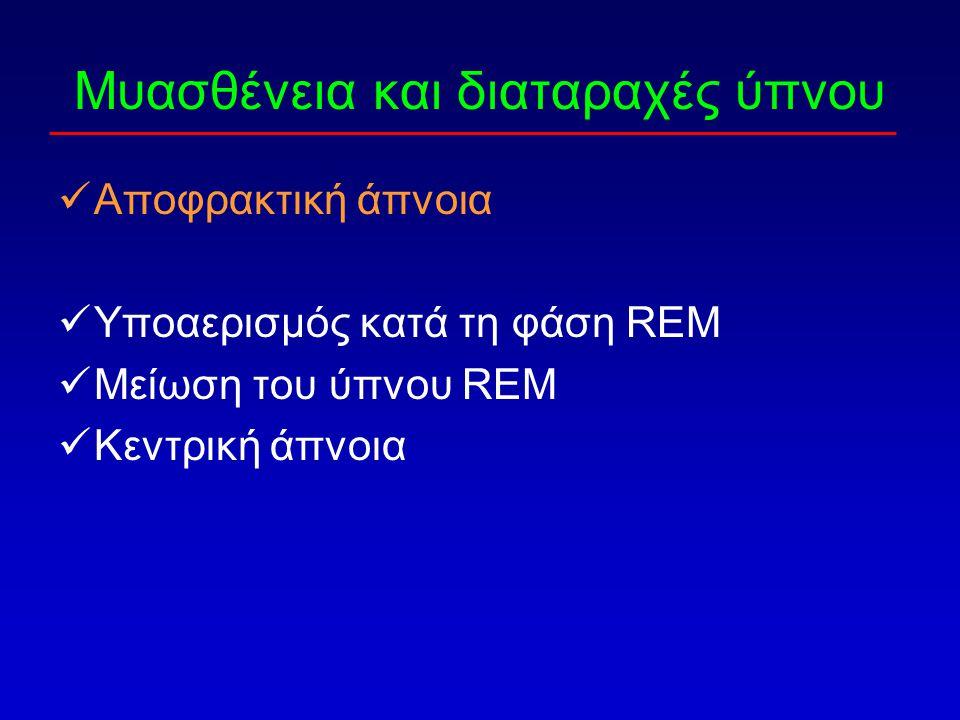 Μυασθένεια και διαταραχές ύπνου Αποφρακτική άπνοια Υποαερισμός κατά τη φάση REM Μείωση του ύπνου REM Κεντρική άπνοια