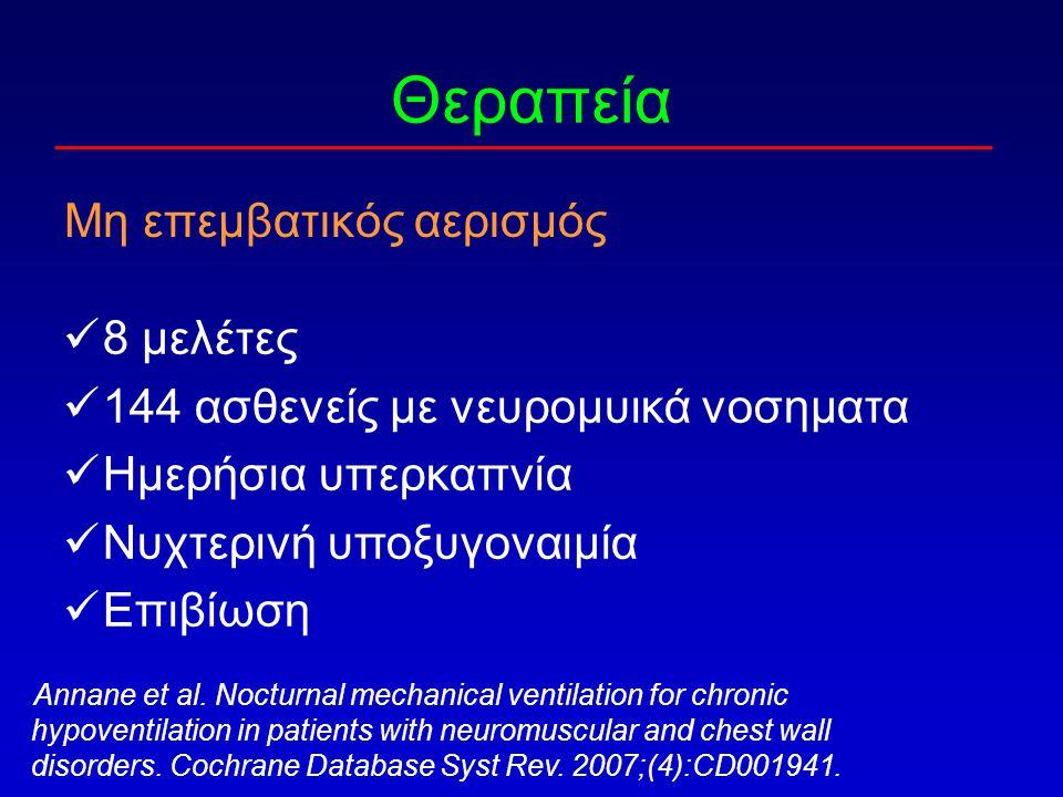 Θεραπεία Μη επεμβατικός αερισμός Annane et al. Nocturnal mechanical ventilation for chronic hypoventilation in patients with neuromuscular and chest w