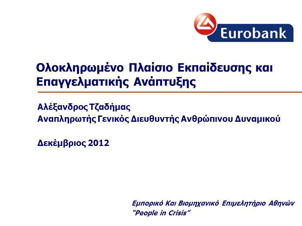 Ολοκληρωμένο Πλαίσιο Εκπαίδευσης και Επαγγελματικής Ανάπτυξης Αλέξανδρος Τζαδήμας Αναπληρωτής Γενικός Διευθυντής Ανθρώπινου Δυναμικού Δεκέμβριος 2012 Εμπορικό Και Βιομηχανικό Επιμελητήριο Αθηνών People in Crisis