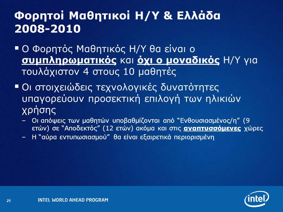 21 Φορητοί Μαθητικοί Η/Υ & Ελλάδα 2008-2010  Ο Φορητός Μαθητικός Η/Υ θα είναι ο συμπληρωματικός και όχι ο μοναδικός Η/Υ για τουλάχιστον 4 στους 10 μαθητές  Οι στοιχειώδεις τεχνολογικές δυνατότητες υπαγορεύουν προσεκτική επιλογή των ηλικιών χρήσης –Οι απόψεις των μαθητών υποβαθμίζονται από Ενθουσιασμένος/η (9 ετών) σε Αποδεκτός (12 ετών) ακόμα και στις αναπτυσσόμενες χώρες –H αύρα εντυπωσιασμού θα είναι εξαιρετικά περιορισμένη