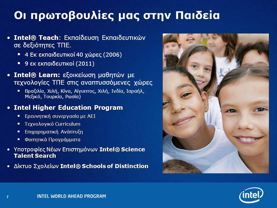 7 Οι πρωτοβουλίες μας στην Παιδεία Intel® TeachIntel® Teach: Εκπαίδευση Εκπαιδευτικών σε δεξιότητες TΠΕ.