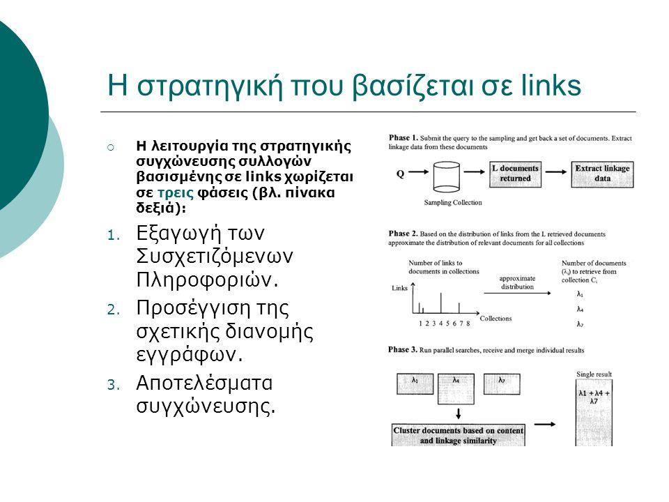 Η στρατηγική που βασίζεται σε links  Η λειτουργία της στρατηγικής συγχώνευσης συλλογών βασισμένης σε links χωρίζεται σε τρεις φάσεις (βλ.