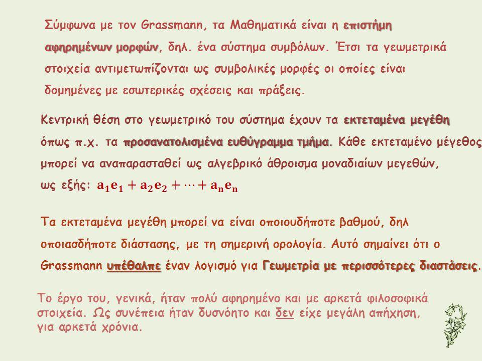 επιστήμη Σύμφωνα με τον Grassmann, τα Μαθηματικά είναι η επιστήμη αφηρημένων μορφών αφηρημένων μορφών, δηλ. ένα σύστημα συμβόλων. Έτσι τα γεωμετρικά σ