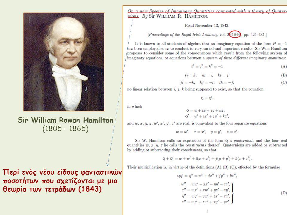 Hamilton Sir William Rowan Hamilton (1805 – 1865) Περί ενός νέου είδους φανταστικών ποσοτήτων που σχετίζονται με μια τετράδων θεωρία των τετράδων (184