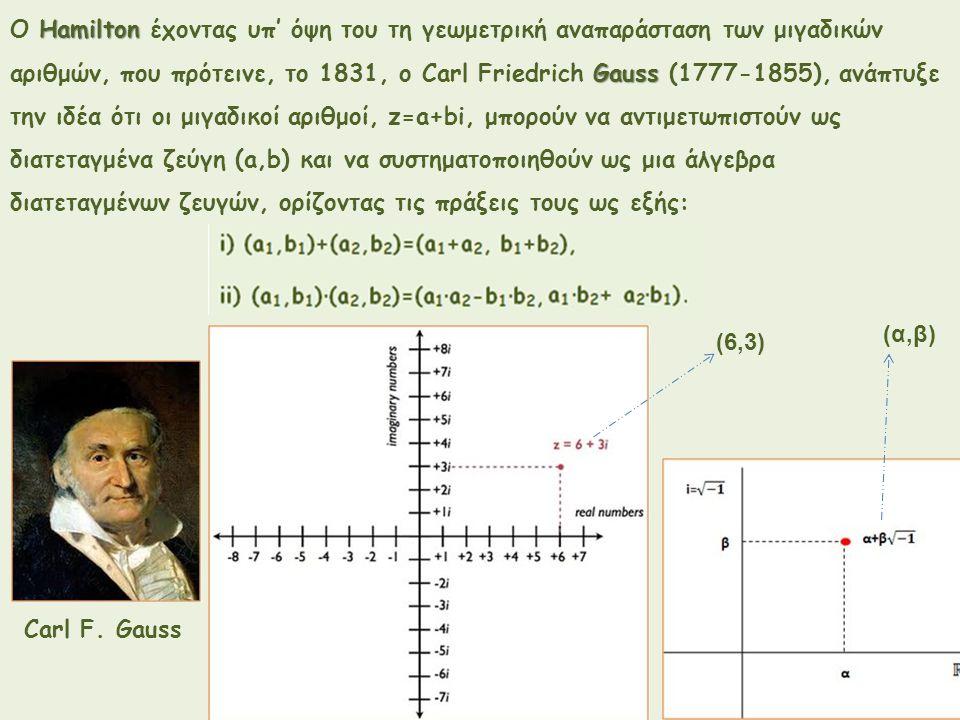 Hamilton Ο Hamilton έχοντας υπ' όψη του τη γεωμετρική αναπαράσταση των μιγαδικών Gauss αριθμών, που πρότεινε, το 1831, ο Carl Friedrich Gauss (1777-18