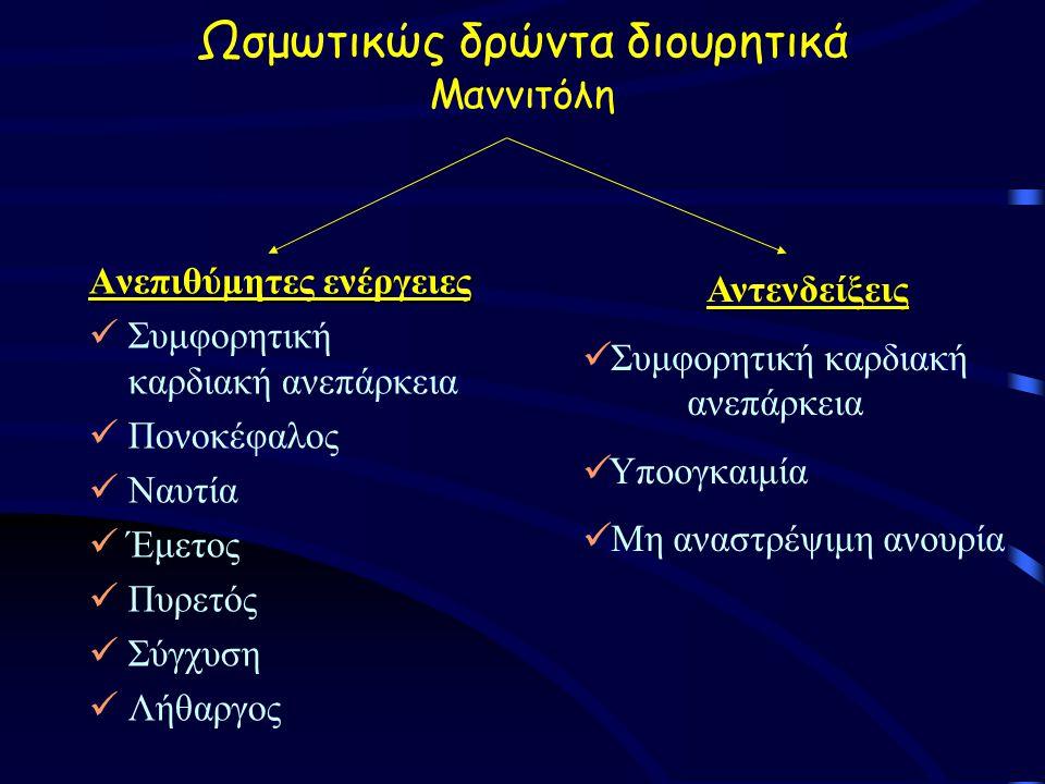Ωσμωτικώς δρώντα διουρητικά Μαννιτόλη Ανεπιθύμητες ενέργειες Συμφορητική καρδιακή ανεπάρκεια Πονοκέφαλος Ναυτία Έμετος Πυρετός Σύγχυση Λήθαργος Αντενδείξεις Συμφορητική καρδιακή ανεπάρκεια Υποογκαιμία Μη αναστρέψιμη ανουρία