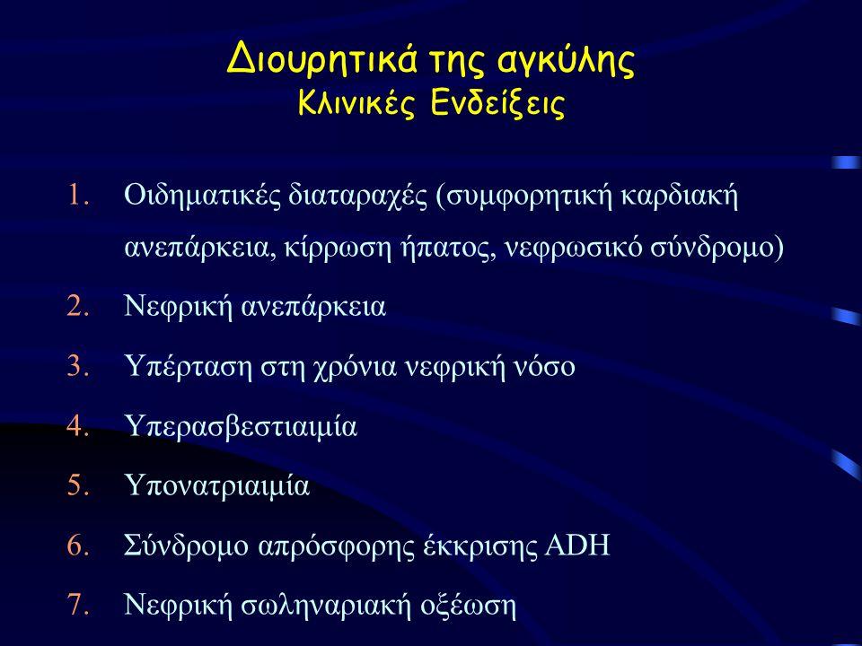 Διουρητικά της αγκύλης Κλινικές Ενδείξεις 1.Οιδηματικές διαταραχές (συμφορητική καρδιακή ανεπάρκεια, κίρρωση ήπατος, νεφρωσικό σύνδρομο) 2.Νεφρική ανεπάρκεια 3.Υπέρταση στη χρόνια νεφρική νόσο 4.Υπερασβεστιαιμία 5.Υπονατριαιμία 6.Σύνδρομο απρόσφορης έκκρισης ADH 7.Νεφρική σωληναριακή οξέωση