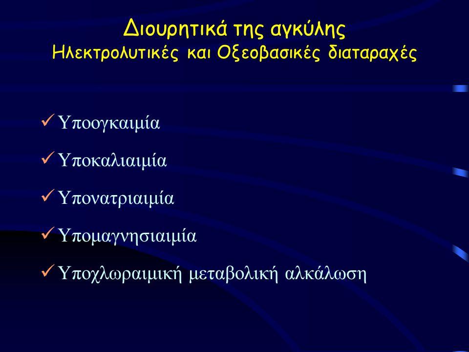Διουρητικά της αγκύλης Ηλεκτρολυτικές και Οξεοβασικές διαταραχές Υποογκαιμία Υποκαλιαιμία Υπονατριαιμία Υπομαγνησιαιμία Υποχλωραιμική μεταβολική αλκάλωση