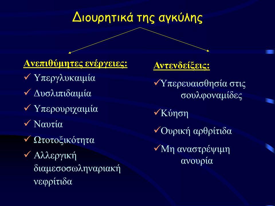 Διουρητικά της αγκύλης Ανεπιθύμητες ενέργειες: Υπεργλυκαιμία Δυσλιπιδαιμία Υπερουριχαιμία Ναυτία Ωτοτοξικότητα Αλλεργική διαμεσοσωληναριακή νεφρίτιδα Αντενδείξεις: Υπερευαισθησία στις σουλφοναμίδες Κύηση Ουρική αρθρίτιδα Μη αναστρέψιμη ανουρία