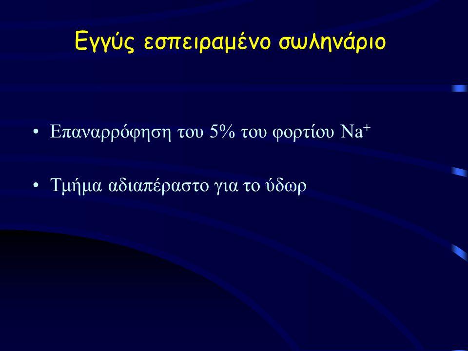 Εγγύς εσπειραμένο σωληνάριο Επαναρρόφηση του 5% του φορτίου Na + Τμήμα αδιαπέραστο για το ύδωρ
