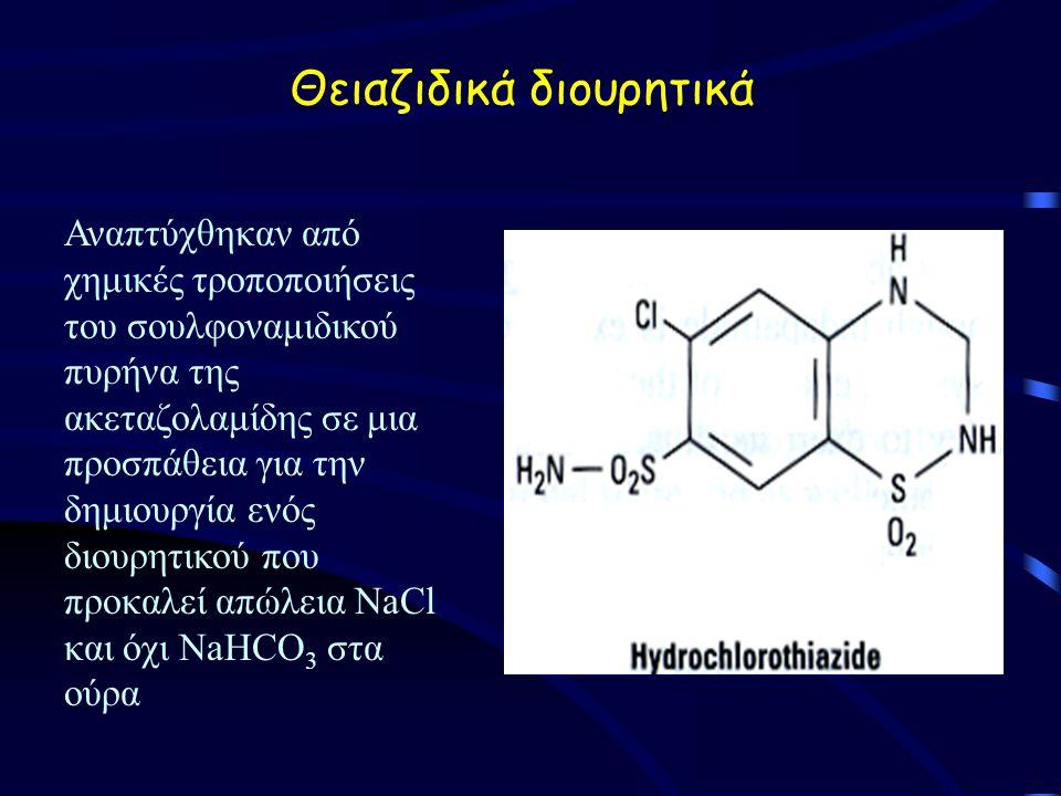 Θειαζιδικά διουρητικά Αναπτύχθηκαν από χημικές τροποποιήσεις του σουλφοναμιδικού πυρήνα της ακεταζολαμίδης σε μια προσπάθεια για την δημιουργία ενός διουρητικού που προκαλεί απώλεια NaCl και όχι NaHCO 3 στα ούρα