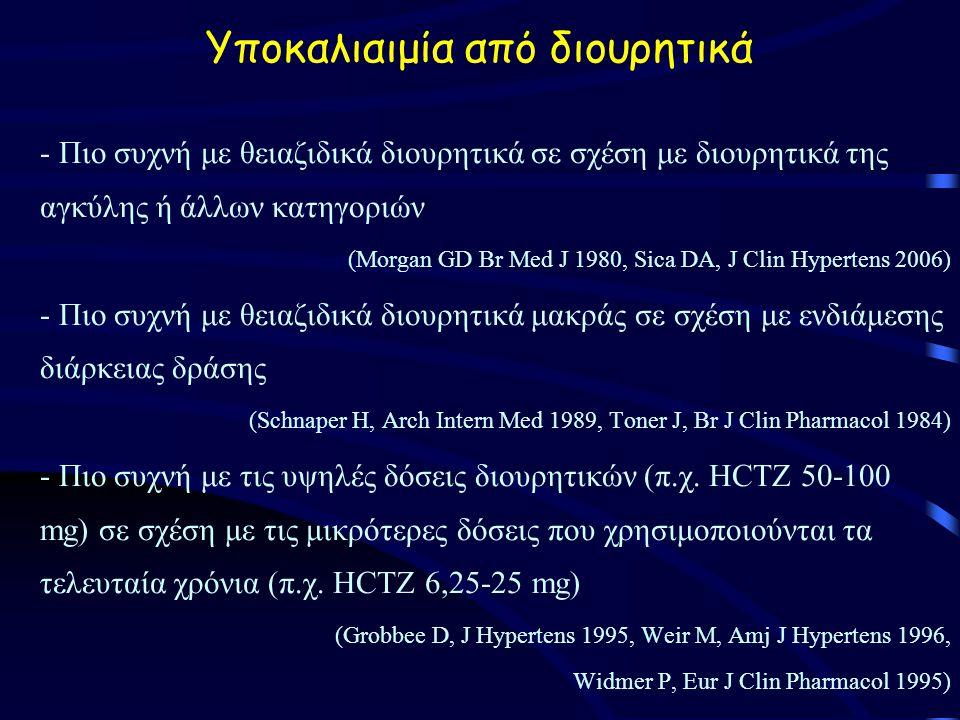 Yποκαλιαιμία από διουρητικά - Πιο συχνή με θειαζιδικά διουρητικά σε σχέση με διουρητικά της αγκύλης ή άλλων κατηγοριών (Morgan GD Br Med J 1980, Sica DA, J Clin Hypertens 2006) - Πιο συχνή με θειαζιδικά διουρητικά μακράς σε σχέση με ενδιάμεσης διάρκειας δράσης (Schnaper H, Arch Intern Med 1989, Toner J, Br J Clin Pharmacol 1984) - Πιο συχνή με τις υψηλές δόσεις διουρητικών (π.χ.