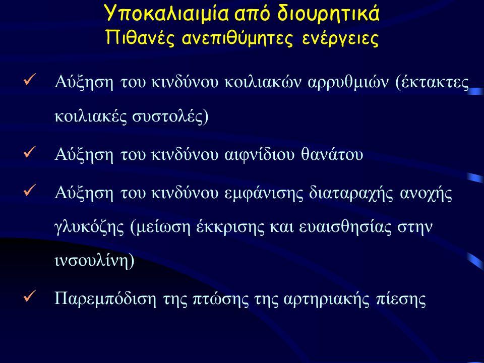 Yποκαλιαιμία από διουρητικά Πιθανές ανεπιθύμητες ενέργειες Αύξηση του κινδύνου κοιλιακών αρρυθμιών (έκτακτες κοιλιακές συστολές) Αύξηση του κινδύνου αιφνίδιου θανάτου Αύξηση του κινδύνου εμφάνισης διαταραχής ανοχής γλυκόζης (μείωση έκκρισης και ευαισθησίας στην ινσουλίνη) Παρεμπόδιση της πτώσης της αρτηριακής πίεσης
