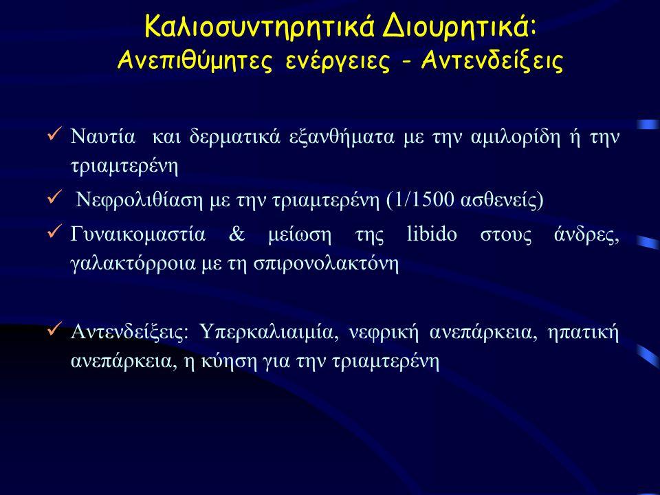 Καλιοσυντηρητικά Διουρητικά: Ανεπιθύμητες ενέργειες - Αντενδείξεις Ναυτία και δερματικά εξανθήματα με την αμιλορίδη ή την τριαμτερένη Νεφρολιθίαση με την τριαμτερένη (1/1500 ασθενείς) Γυναικομαστία & μείωση της libido στους άνδρες, γαλακτόρροια με τη σπιρονολακτόνη Αντενδείξεις: Υπερκαλιαιμία, νεφρική ανεπάρκεια, ηπατική ανεπάρκεια, η κύηση για την τριαμτερένη