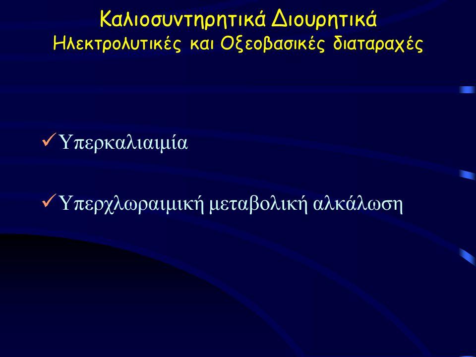 Καλιοσυντηρητικά Διουρητικά Ηλεκτρολυτικές και Οξεοβασικές διαταραχές Υπερκαλιαιμία Υπερχλωραιμική μεταβολική αλκάλωση