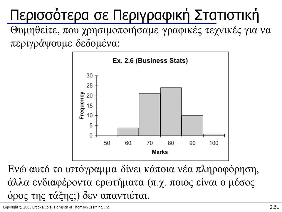 Copyright © 2005 Brooks/Cole, a division of Thomson Learning, Inc. 2.51 Περισσότερα σε Περιγραφική Στατιστική Θυμηθείτε, που χρησιμοποιήσαμε γραφικές