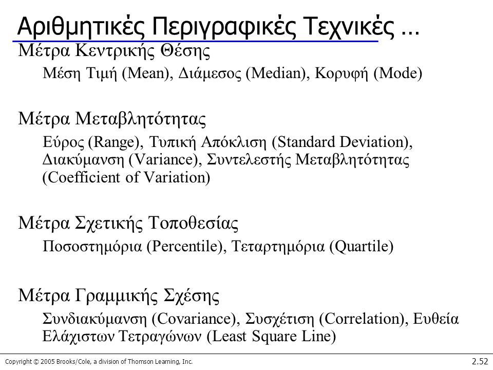 Copyright © 2005 Brooks/Cole, a division of Thomson Learning, Inc. 2.52 Αριθμητικές Περιγραφικές Τεχνικές … Μέτρα Κεντρικής Θέσης Μέση Τιμή (Mean), Δι