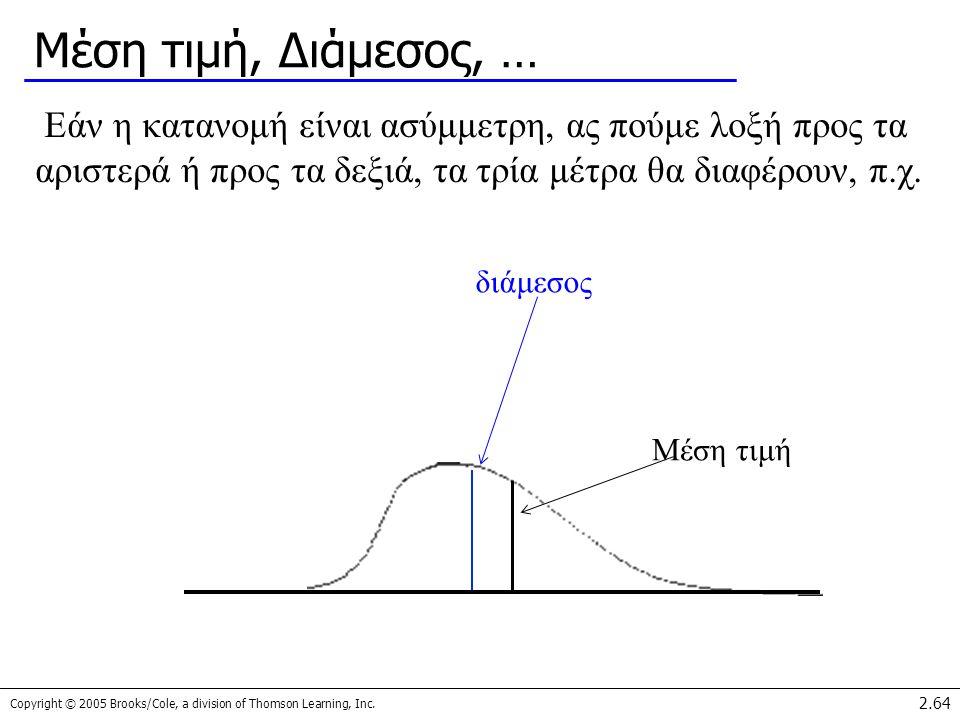 Copyright © 2005 Brooks/Cole, a division of Thomson Learning, Inc. 2.64 Μέση τιμή, Διάμεσος, … Εάν η κατανομή είναι ασύμμετρη, ας πούμε λοξή προς τα α