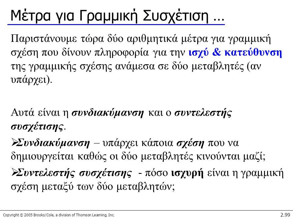 Copyright © 2005 Brooks/Cole, a division of Thomson Learning, Inc. 2.99 Μέτρα για Γραμμική Συσχέτιση … Παριστάνουμε τώρα δύο αριθμητικά μέτρα για γραμ