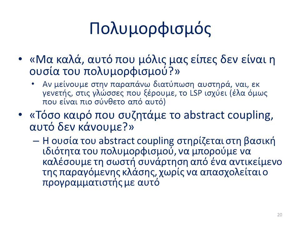 Πολυμορφισμός «Μα καλά, αυτό που μόλις μας είπες δεν είναι η ουσία του πολυμορφισμού » Αν μείνουμε στην παραπάνω διατύπωση αυστηρά, ναι, εκ γενετής, στις γλώσσες που ξέρουμε, το LSP ισχύει (έλα όμως που είναι πιο σύνθετο από αυτό) «Τόσο καιρό που συζητάμε το abstract coupling, αυτό δεν κάνουμε » – Η ουσία του abstract coupling στηρίζεται στη βασική ιδιότητα του πολυμορφισμού, να μπορούμε να καλέσουμε τη σωστή συνάρτηση από ένα αντικείμενο της παραγόμενης κλάσης, χωρίς να απασχολείται ο προγραμματιστής με αυτό 20