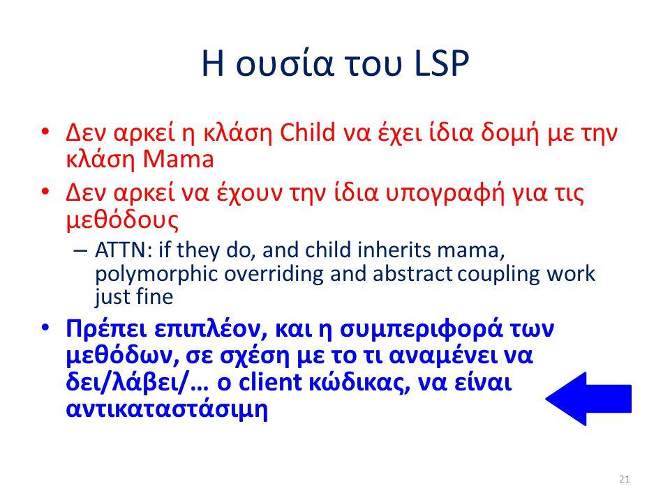 Η ουσία του LSP Δεν αρκεί η κλάση Child να έχει ίδια δομή με την κλάση Mama Δεν αρκεί να έχουν την ίδια υπογραφή για τις μεθόδους – ATTN: if they do, and child inherits mama, polymorphic overriding and abstract coupling work just fine Πρέπει επιπλέον, και η συμπεριφορά των μεθόδων, σε σχέση με το τι αναμένει να δει/λάβει/… ο client κώδικας, να είναι αντικαταστάσιμη 21
