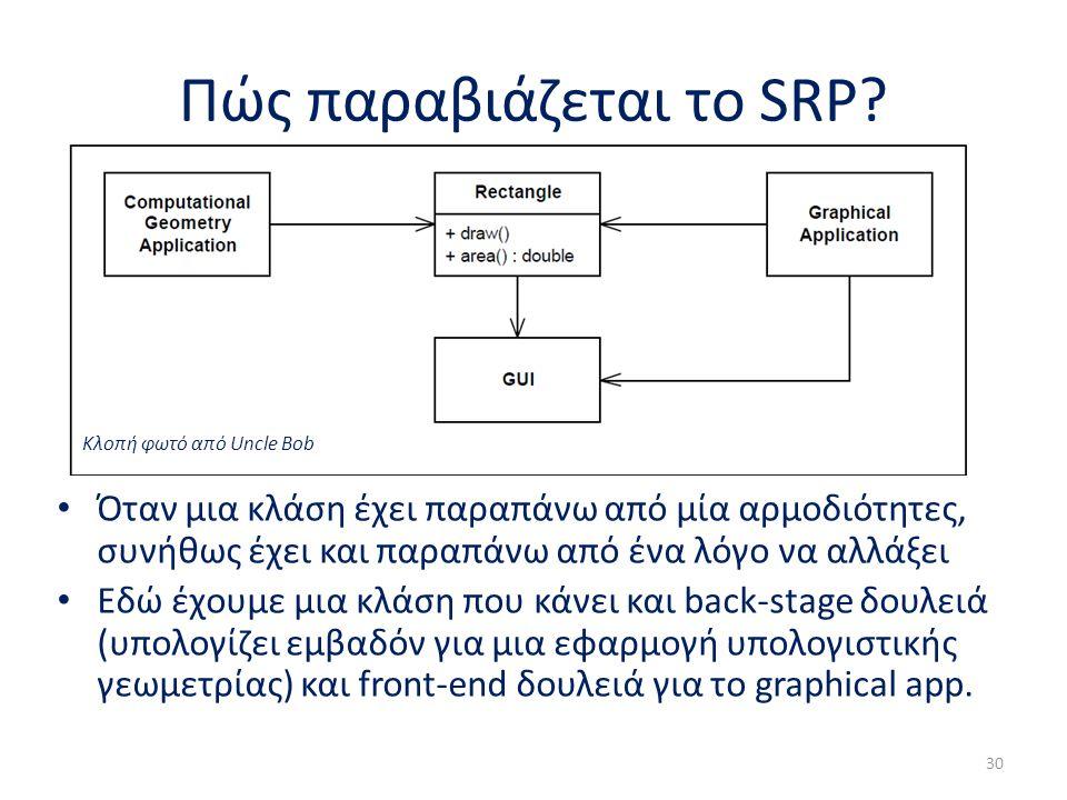 Πώς παραβιάζεται το SRP? Όταν μια κλάση έχει παραπάνω από μία αρμοδιότητες, συνήθως έχει και παραπάνω από ένα λόγο να αλλάξει Εδώ έχουμε μια κλάση που