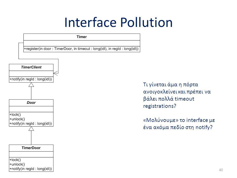 Interface Pollution 40 Τι γίνεται άμα η πόρτα ανοιγοκλείνει και πρέπει να βάλει πολλά timeout registrations? «Μολύνουμε» το interface με ένα ακόμα πεδ