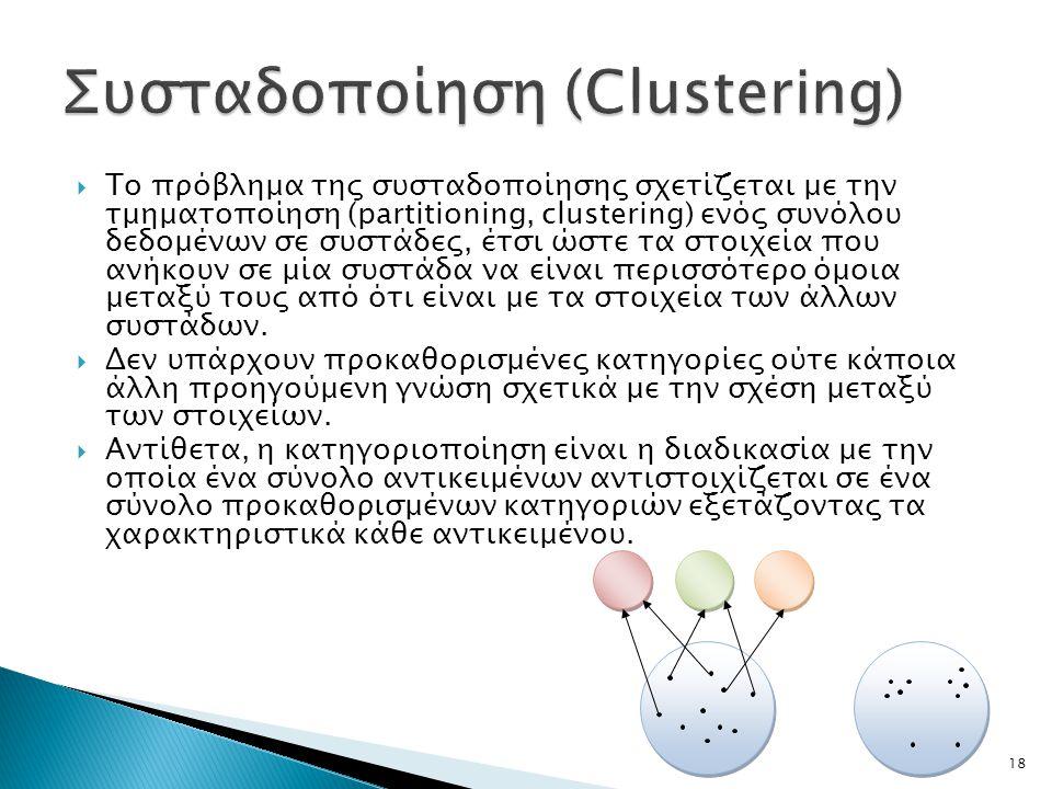  Το πρόβλημα της συσταδοποίησης σχετίζεται με την τμηματοποίηση (partitioning, clustering) ενός συνόλου δεδομένων σε συστάδες, έτσι ώστε τα στοιχεία που ανήκουν σε μία συστάδα να είναι περισσότερο όμοια μεταξύ τους από ότι είναι με τα στοιχεία των άλλων συστάδων.