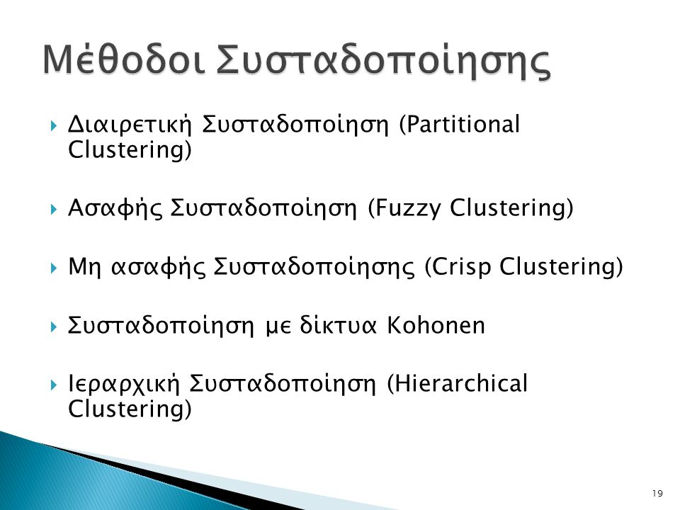  Διαιρετική Συσταδοποίηση (Partitional Clustering)  Ασαφής Συσταδοποίηση (Fuzzy Clustering)  Μη ασαφής Συσταδοποίησης (Crisp Clustering)  Συσταδοποίηση με δίκτυα Kohonen  Ιεραρχική Συσταδοποίηση (Hierarchical Clustering) 19