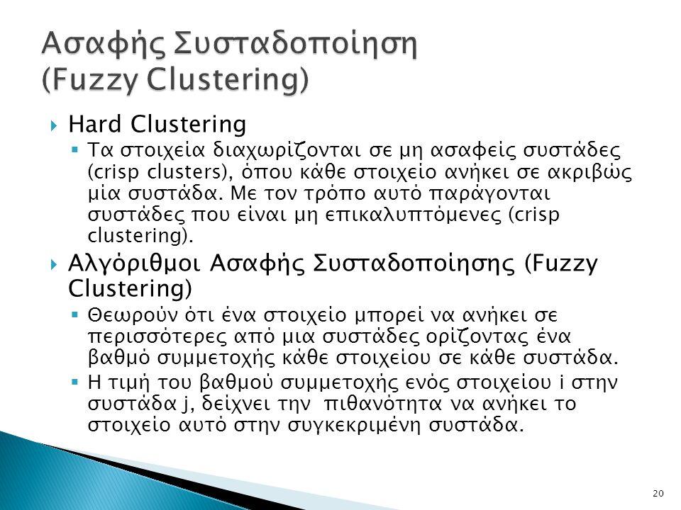  Hard Clustering  Tα στοιχεία διαχωρίζονται σε μη ασαφείς συστάδες (crisp clusters), όπου κάθε στοιχείο ανήκει σε ακριβώς μία συστάδα.